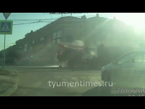 ДТП пожарная и самосвал, Челябинск, Копейское шоссе, 09-04-2019