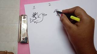 Hand drawing and coloring for kids, drawing birds with numbers 1 to 5