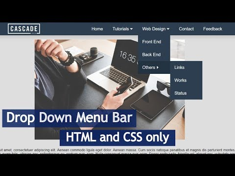 Drop Down Menu Bar Using HTML & CSS
