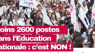 Moins 2600 postes dans l'Éducation nationale : grève le 12 novembre !
