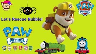 PAW PATROL Jungle Patroller Episode Thomas Bob the Builder Cat front loader come to rescue Rubble