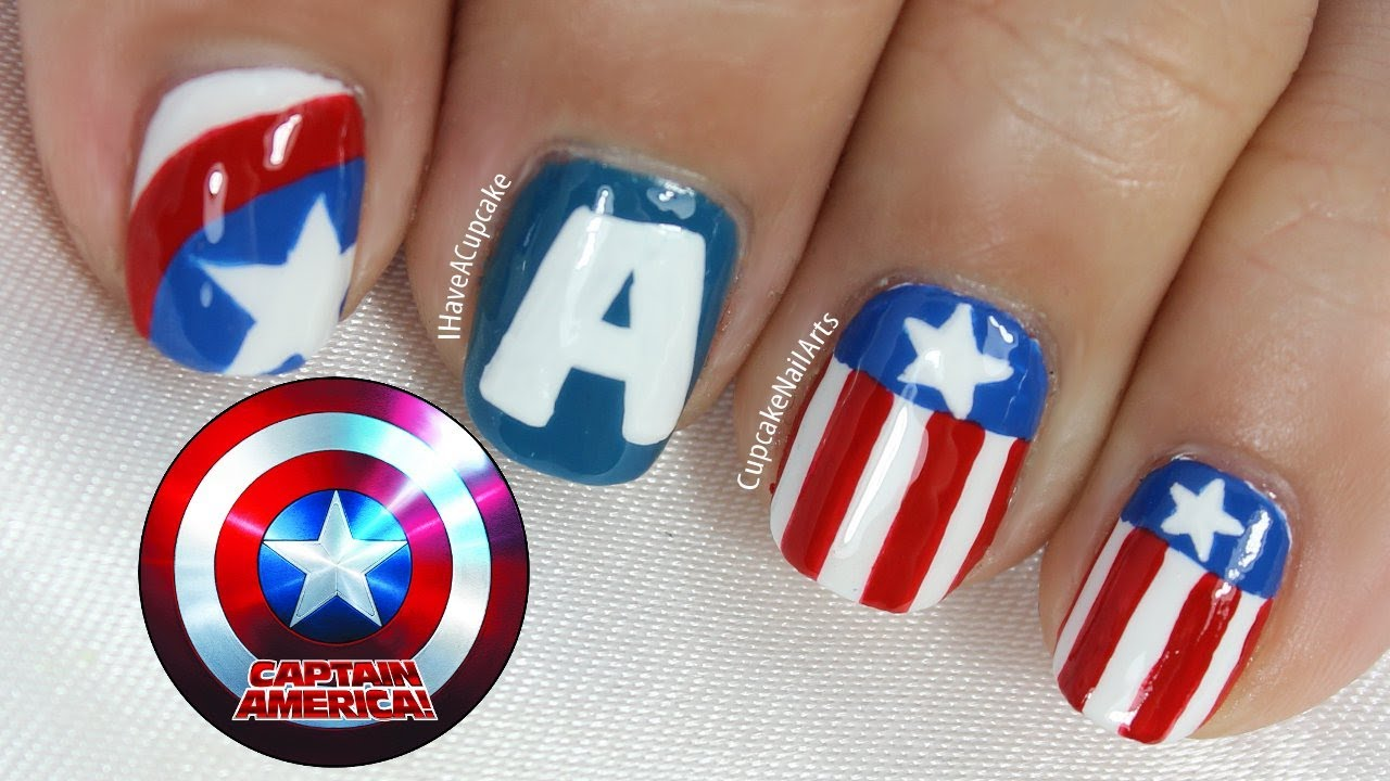 Captain America Nail Art - YouTube