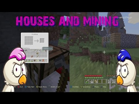 minecraft xbox one split screen house building and mining