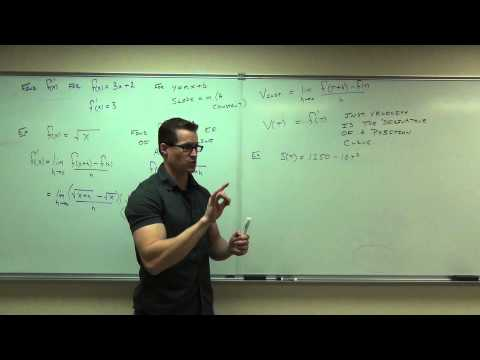 Calculus 1 Lecture 2.1:  Introduction to the Derivative of a