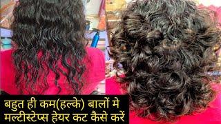 Full Multi Step Haircut In very thin and light hair!!बहुत ही सरल तरीके से कम बालों मे नया लुक लाये
