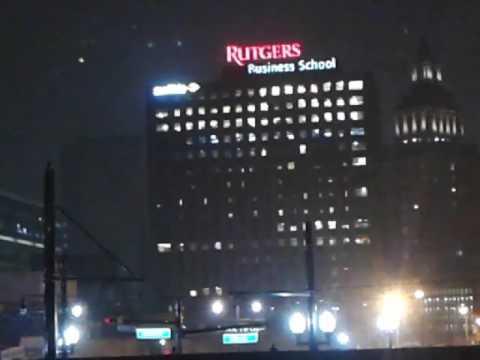 RUTGERS BUSINESS SCHOOL NEWARK NJ IN EVENING NEAR NJT NEWARK BROAD STREET TRAIN STATION