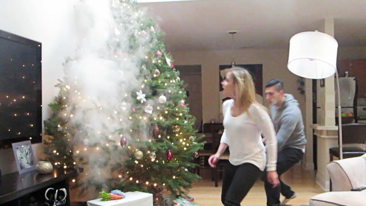 SMOKING CHRISTMAS TREE PRANK YouTube - Christmas Trees On Fire