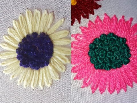 Hand Embroidery flower stitch designs bullion knots designs by HUMARIA ARTS