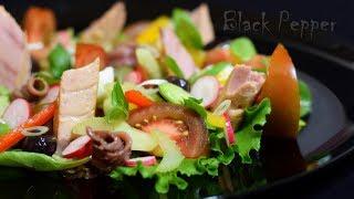 Салат Нисуаз с тунцом и перепелиными яйцами | Шеф Black Pepper
