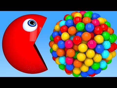 Learn Colors with PACMAN and Farm 3D Cricket Ball Balloon for Kid Children