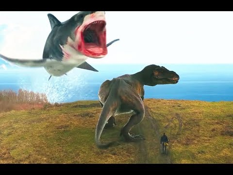 ��嚎】巨型鲨鱼大战霸王龙,超级烂片鲨�风��了