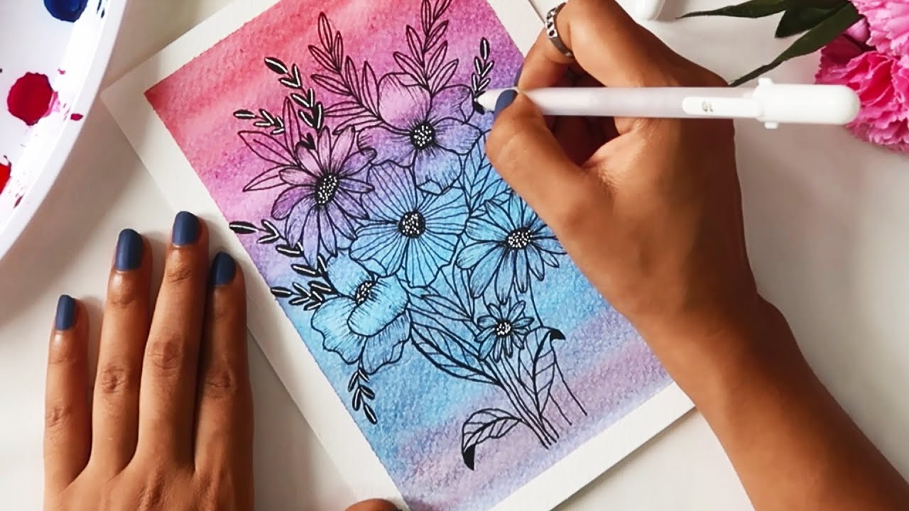 How To Draw Paint Creatively With Easy Ideas Flower Drawing Painting Colored Backgrounds Youtube