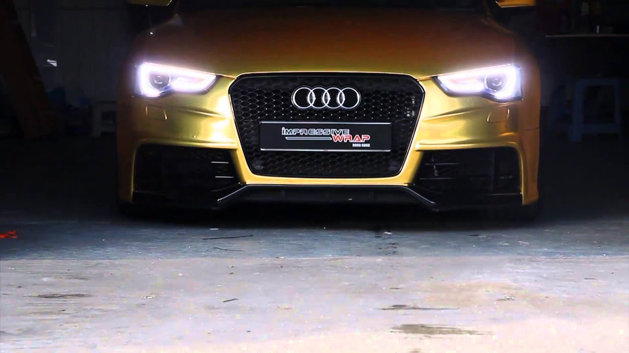Audi S5 Sportback Full Wrapped In Satin Gold Chrome By