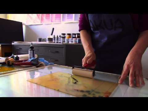 Hand-Pulled Monotype Printing with Akua Inks and Pin Press
