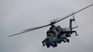 Боевой вертолет Ми-24 в действии.