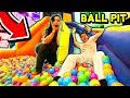 GIANT BALL PIT INSIDE INFLATABLE WATER SLIDE! (With GIRLFRIEND)