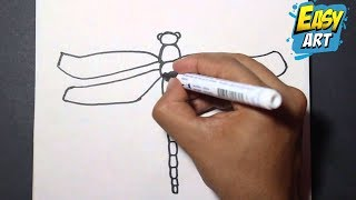Como dibujar una libelula paso a paso | How to draw a dragonfly - drawing