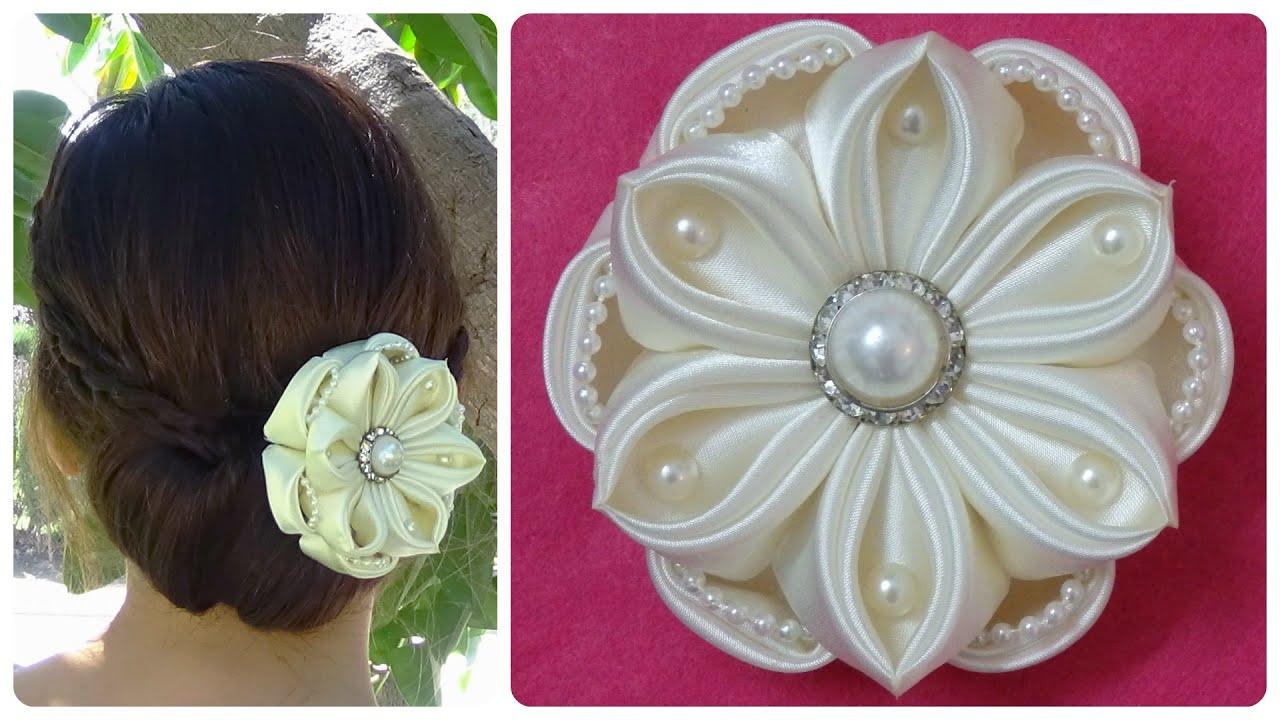 DIY Kanzashi Satin Flower Wedding Hair Accessoire