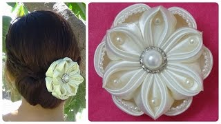 DIY kanzashi satin flower, wedding hair accessoire,kanzashi flower tutorial