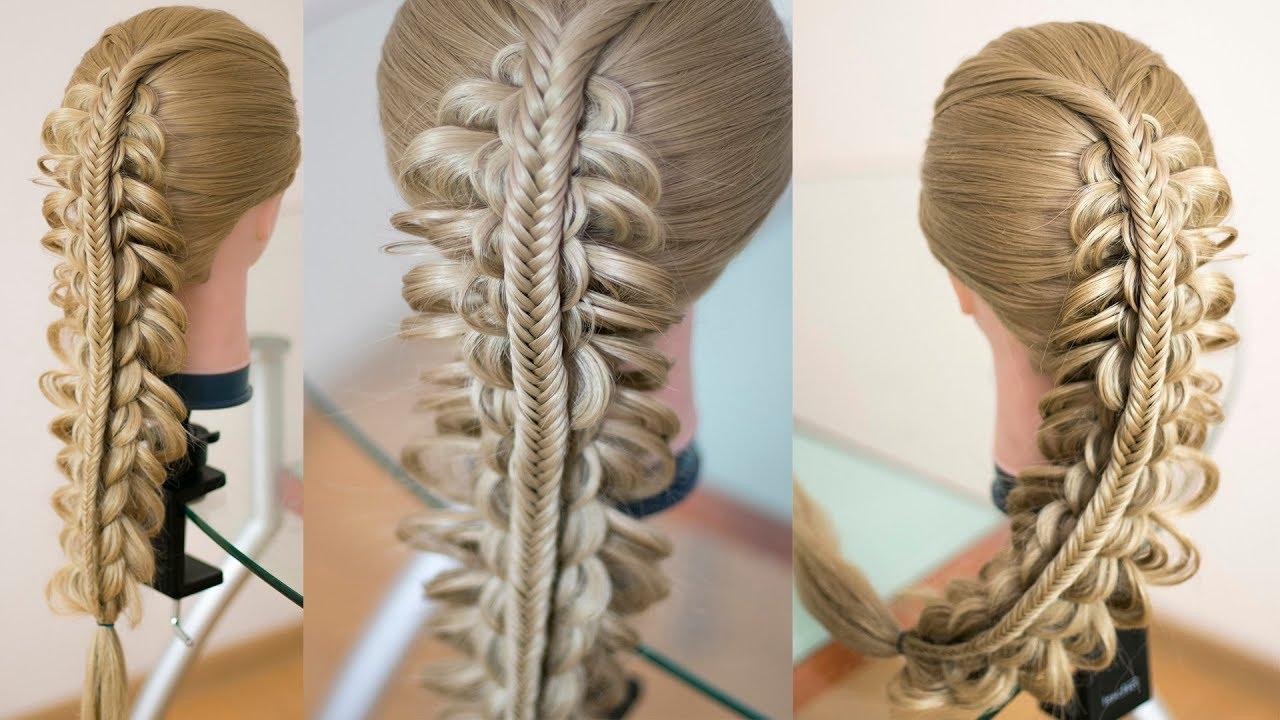 Коса на косе, новый вариант Тройная коса Коса в школу Hair tutorial