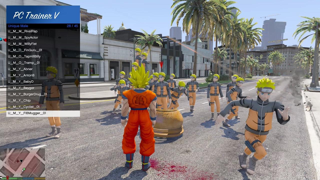 GTA 5 Mod – Son Goku đánh nhau với Naruto trong GTA V (Phần 1)
