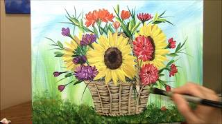 How to paint a Basket of Harvest Flowers in Acrylic ~ Part 3 of 3