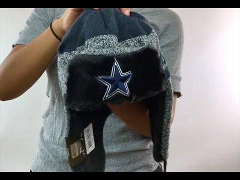 37e6fd5596338 Cowboys  FROSTWORK TRAPPER  Navy Knit Hat by New Era - YouTube