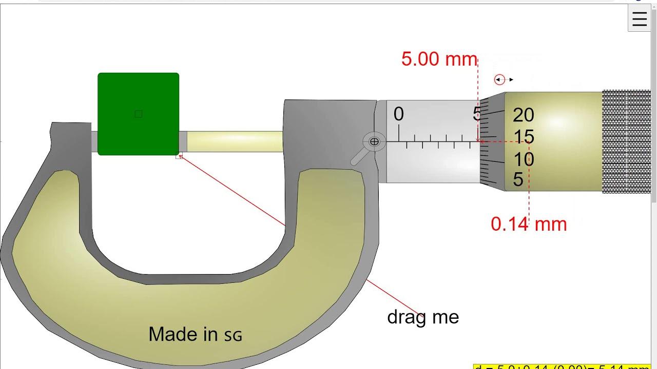 Micrometer App Version Full Screen Javascript Html5 Applet Simulation Model Open Educational Resources Open Source Physics Singapore