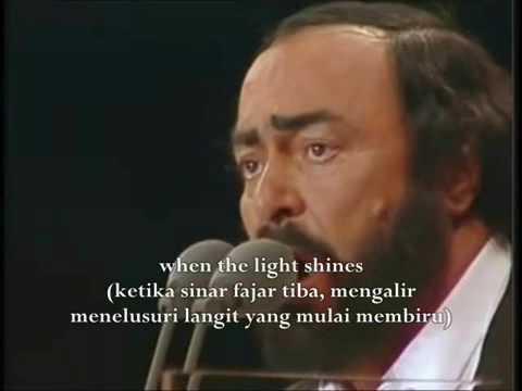 Nessun dorma (Pavarotti) with English and Indonesian Lyrics