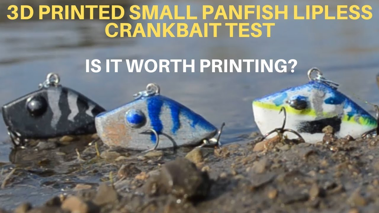 3D PRINTED SMALL PANFISH LIPLESS CRANKBAIT FISHING LURE TEST