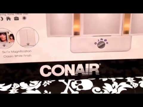 CONAIR ILLUMINA COLLECTION 3 PANEL LIGHTED MAKEUP MIRROR 1X/5X magnification