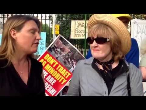 Kellie Cottam (Forced Adoption Exposed) with Carol Woods CP whistle blower down at S.C.O.T UK