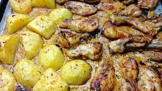 fırında patatesli harika soslu tavuk, fırında kanat, fırında but