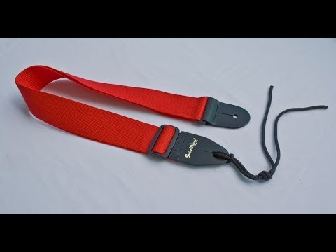 American Made Guitar Strap Red Nylon Solid Leather Ends For Acoustic & Electric On Sale $7.95