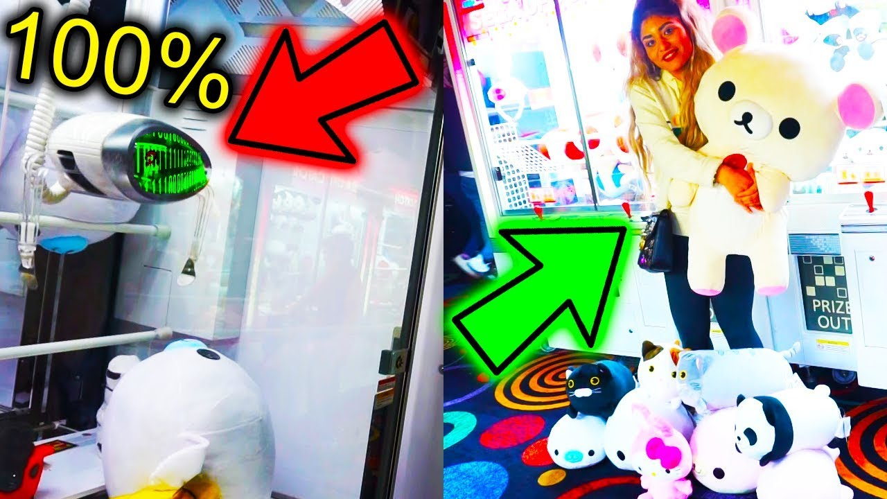 HACKING CLAW MACHINES AT THE ARCADE! *100% WIN RATE* | Round 1 Arcade