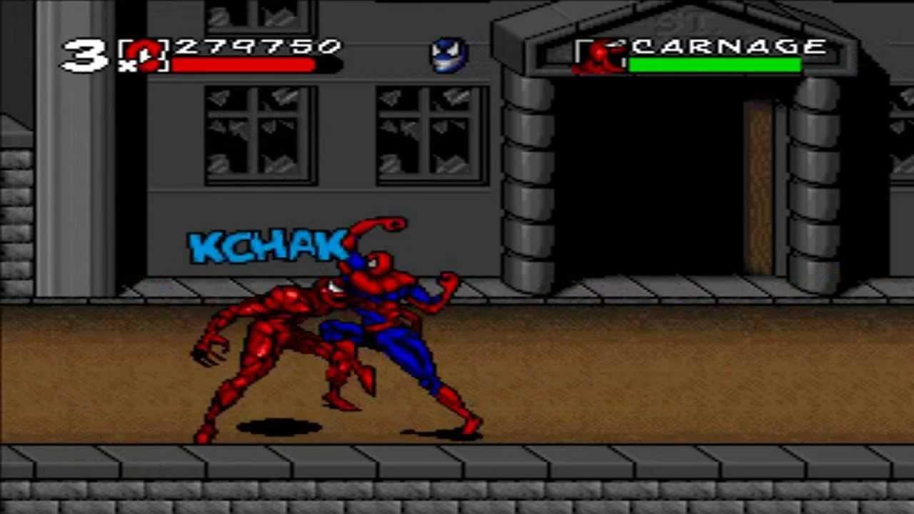 Homem-Aranha Vs. Carnificina em Spider-Man Maximum Carnage (SNES)