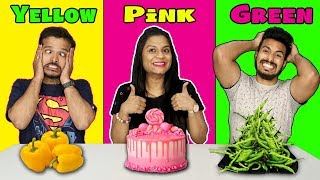 Pink ,Yellow,Green Food Eating Challenge |ONE COLOR FOOD Eating Competition