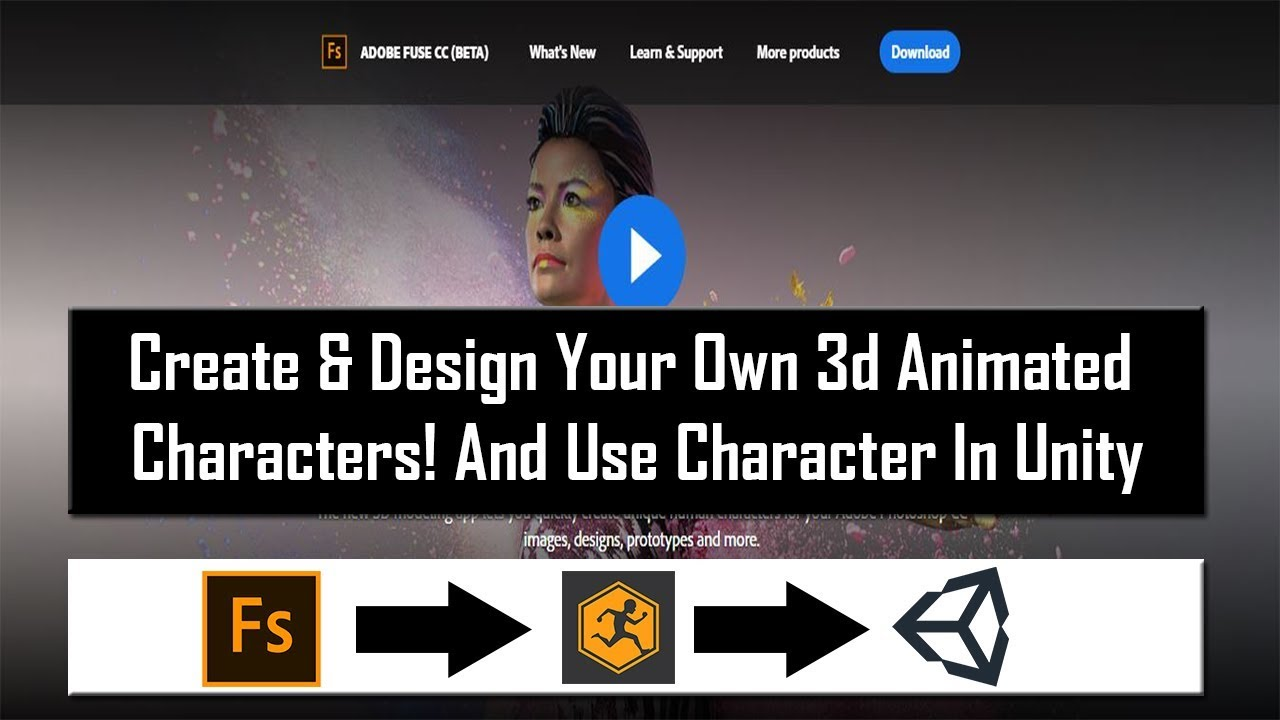 How to create your own custom game character for unity 3d game engine using adobe fuse and maxiamo