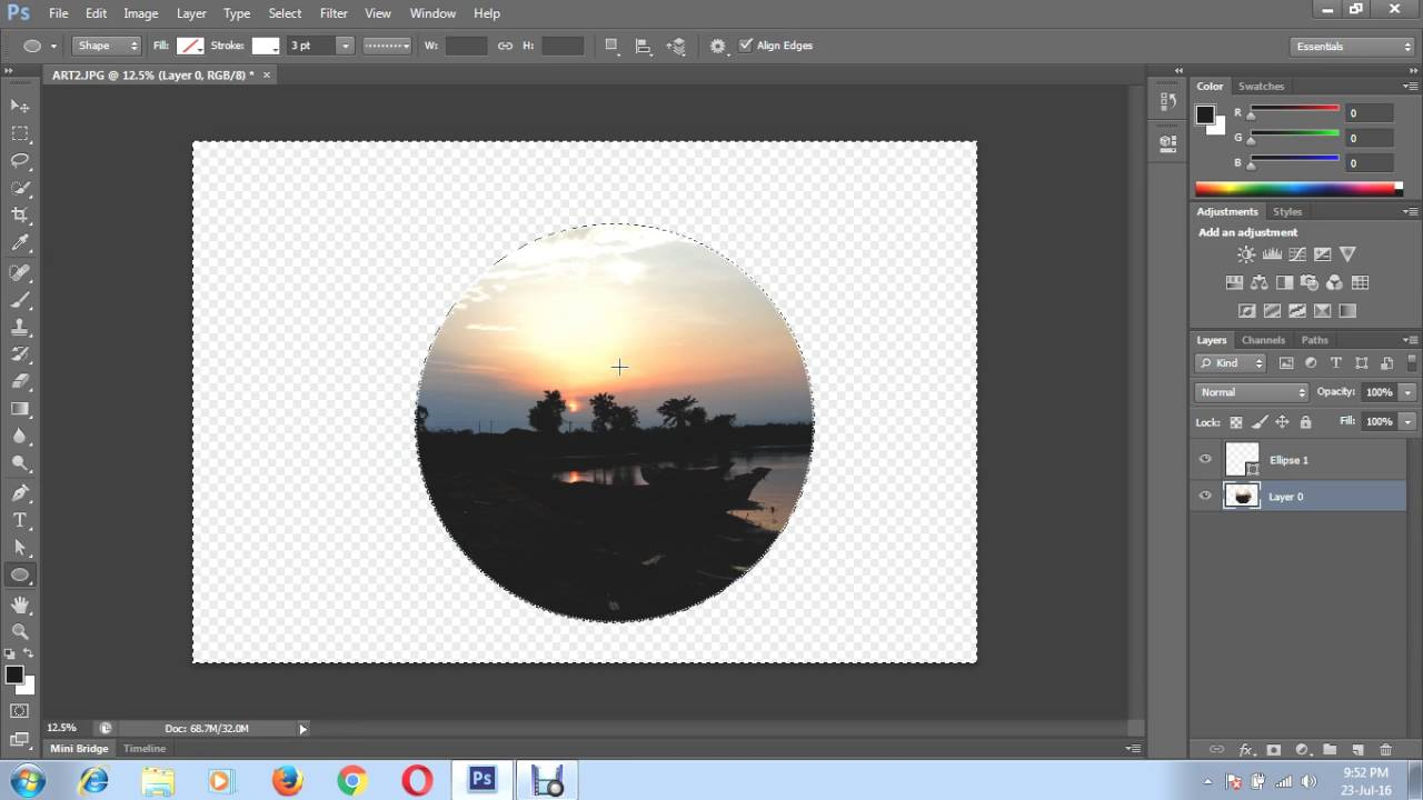 How to put a picture in a circle shape using Photoshop - YouTube