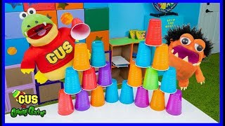 Pretend Play Stacking Games with Giant Cups with Gus the Gummy Gator!!!