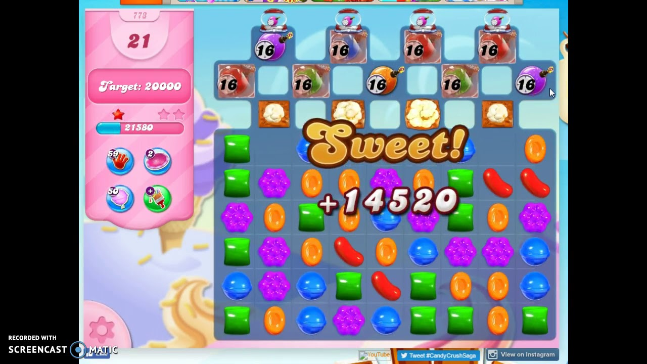 Candy Crush Level 773 Audio Talkthrough, 3 Stars 0 Boosters