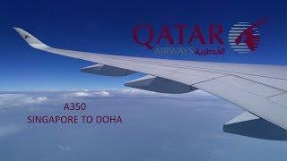 Qatar Airways A350: Red Eye flight Singapore to Doha [FullHD]