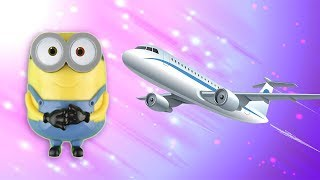 English Lesson For Kids! Minions Surprise! Airplane! Unboxing Fun! Learn A Word!