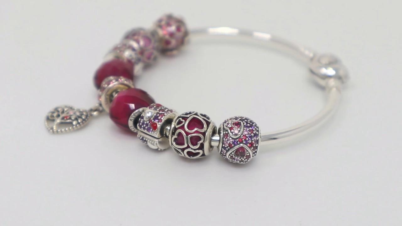 Design Ideas Pandora Valentine S Day Red Pink Purple Themed Charm Bracelet Youtube