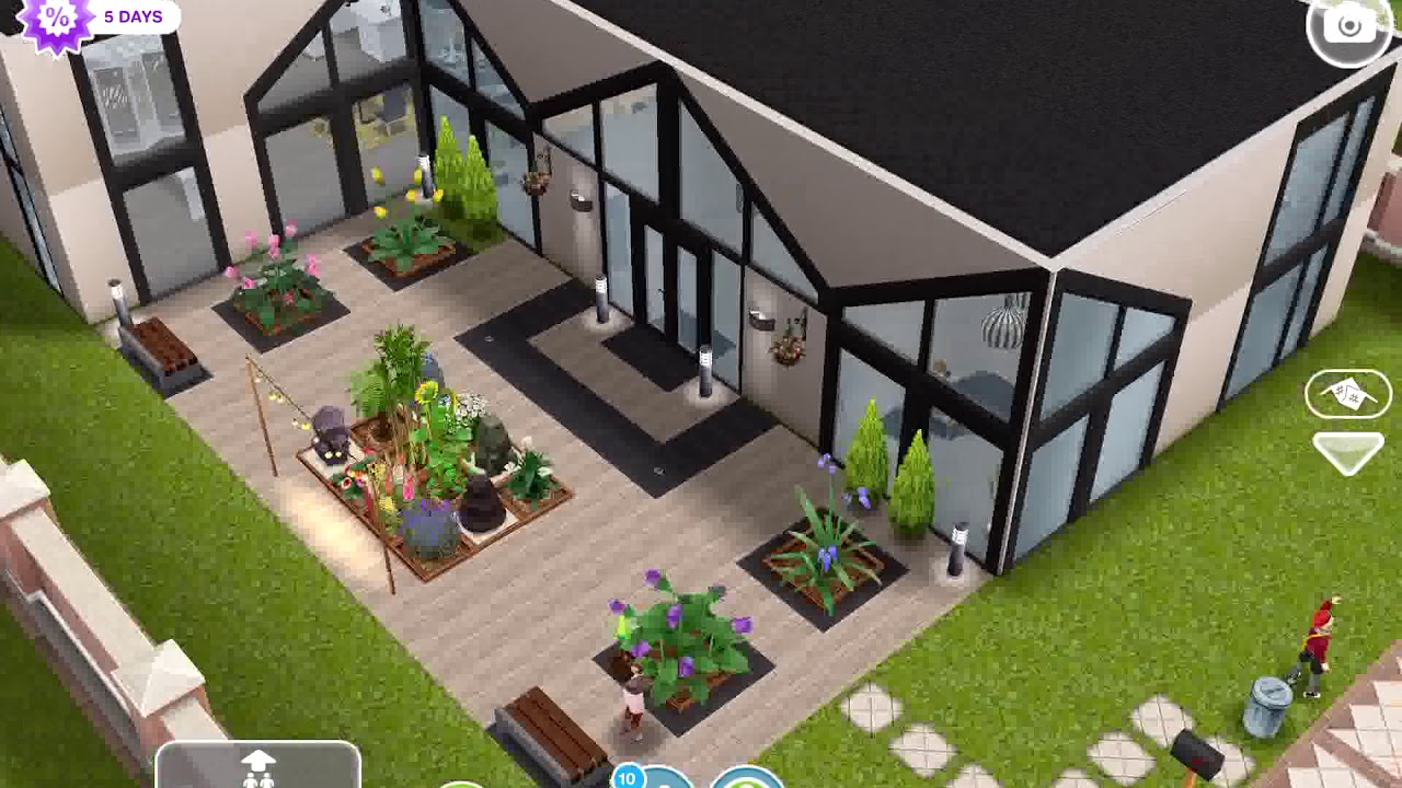 The Sims Freeplay double height mezzanine living designer house ...