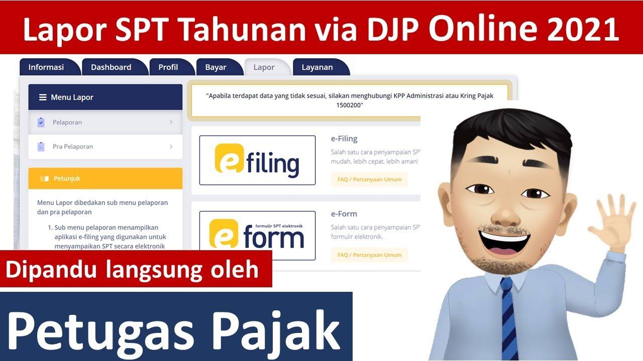 Cara Lapor Spt Tahunan Pribadi Online Untuk Pns Dan Karyawan Swasta Melalui Djp Online 2021 Youtube