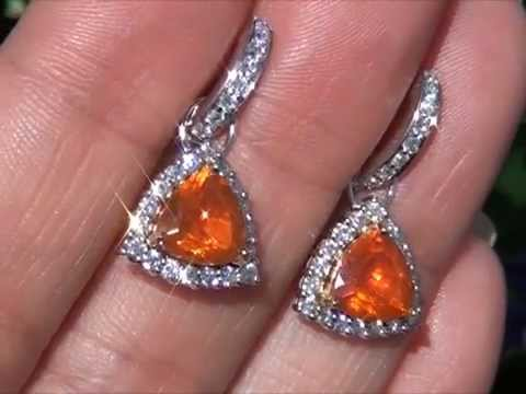 Top Gem Investment Grade Neon Orange Mexican Fire Opal Vs Diamond Earrings Set In Solid 18k Gold You