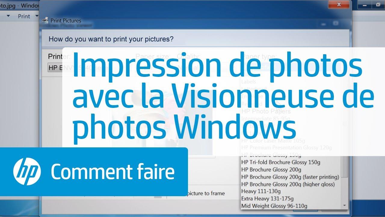 Impression de photos avec la Visionneuse de photos Windows