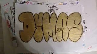 """Рисования граффити на бумаге """"Dimas"""". Drawing graffiti sketch """"Dimas""""."""