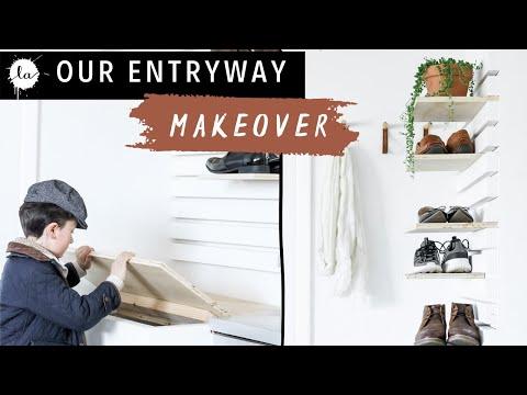 Entryway Bench + DIY Shoe Rack   Mudroom Makeover   Easy   Organization